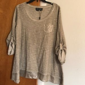 Women's tunic with sequin trim